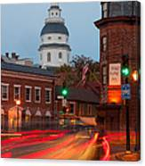 Historic Annapolis And Evening Traffic I Canvas Print