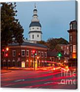 Historic Annapolis And Evening Traffic II Canvas Print