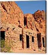 Historic Civilian Conservation Corps Stone Cabins In The Valley Of Fire Canvas Print