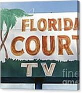 Historic Florida Motor Court Sign In Delray Beach. Florida. Canvas Print