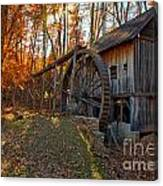 Historic Grist Mill With Fall Foliage Canvas Print