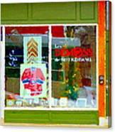 Historic Habs Hockey Jersey St Henri Storefront Les Demons De Notre Dame Montreal Art Carole Spandau Canvas Print