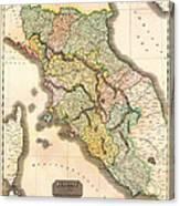 Historic Map Of Tuscany 1814 Canvas Print