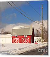 Historic Red Barn On A Snowy Winter Day Canvas Print