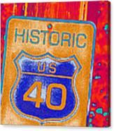 Historic Route 40 Pop Art Canvas Print