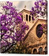 Historic Sierra Madre Congregational Church Among The Purple Jacaranda Trees  Canvas Print