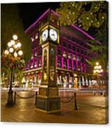 Historic Steam Clock In Gastown Vancouver Bc Canvas Print