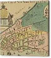 Historical Manhattan Map 1728 Canvas Print