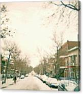 Hiver Psc Winter In The Point Snowy Day Paintings Montreal Art Cityscenes Brick Houses Snowed In Canvas Print