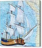 Hms Endeavour Tall Sailing Ship Chart Map Art Peek Canvas Print