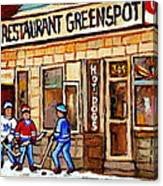 Hockey And Hotdogs At The Greenspot Diner Montreal Hockey Art Paintings Winter City Scenes Canvas Print