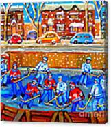 Hockey Art Collectible Cards And Prints Snowy Day  Neighborhood Rinks Verdun Montreal Art C Spandau Canvas Print