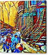 Hockey Art Montreal Winter Scene Winding Staircases Kids Playing Street Hockey Painting  Canvas Print