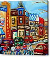 Hockey Art Montreal Winter Street Scene Painting Chez Vito Boucherie And Fairmount Bagel Canvas Print