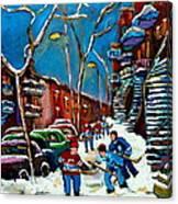 Hockey Game On De Bullion Montreal City Scene Canvas Print
