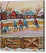 Hockey Game-outdoor Hockey -beautiful Canadian Winter Landscape-hockey Heroes-carole Spandau Canvas Print