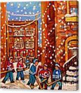 Hockey In The Laneway On Snowy Day Paintings Of Montreal Streets In Winter Carole Spandau Canvas Print