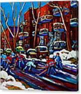 Hockey On De Bullion Montreal Canvas Print