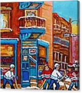 Hockey Stars At Wilensky's Diner Street Hockey Game Paintings Of Montreal Winter  Carole Spandau Canvas Print