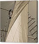 Hoisting The Mainsail In Sepia Canvas Print