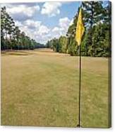 Hole Flag At A Golf Course Canvas Print