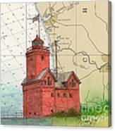 Holland Harbor Lighthouse Mi Nautical Chart Map Art Canvas Print
