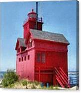 Holland Harbor And Big Red Canvas Print