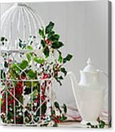 Holly And Berries Birdcage Canvas Print