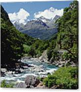 Hollyford River And The Eyre Range Canvas Print