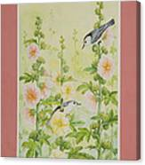 Hollyhocks And Nuthatches Canvas Print
