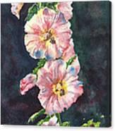 Mom's Hollyhocks  Canvas Print