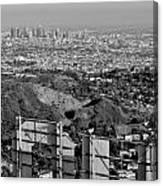 Hollywood And Los Angeles City Skyline Canvas Print