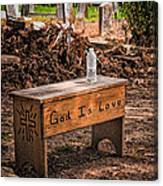 Holt Cemetery - God Is Love Bench Canvas Print