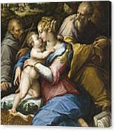 Holy Family With Saint Francis In A Landscape Canvas Print