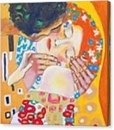 Homage To Master Klimt The Kiss Canvas Print