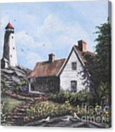 Home By Lighthouse Canvas Print