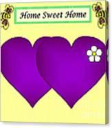 Home Sweet Home Purple Hearts 1 Canvas Print