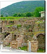 Homes Of The Rich In Central Ephesus-turkey Canvas Print