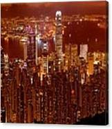 Hong Kong In Golden Brown Canvas Print