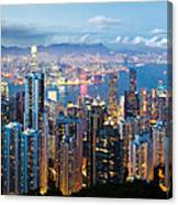 Hong Kong At Dusk Canvas Print