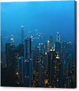 Hong Kong In Foggy Night Canvas Print