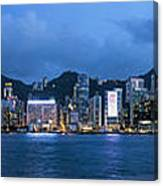 Hong Kong Island Central City Skyline At Blue Hour Canvas Print