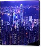 Hong Kong In Purple Canvas Print