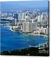 Honolulu And Waikiki From Diamond Head Canvas Print