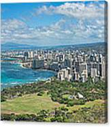 Honolulu From Diamond Head Crater Canvas Print