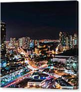 Honolulu Night Panorama Canvas Print