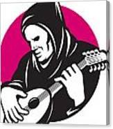 Hooded Man Playing Banjo Guitar Canvas Print
