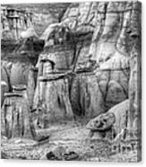 Hoodoos Bisti/de-na-zin Wilderness Monochrome Canvas Print