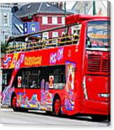 Hop On And Hop Off Bus In Bergen Canvas Print