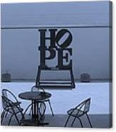 Hope And Chairs In Cyan Canvas Print